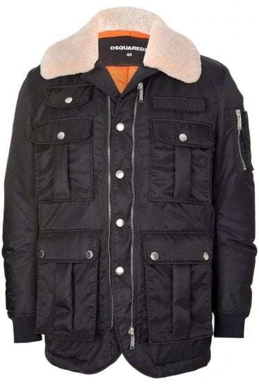 Dsquared Multi Pocket Down Jacket Black
