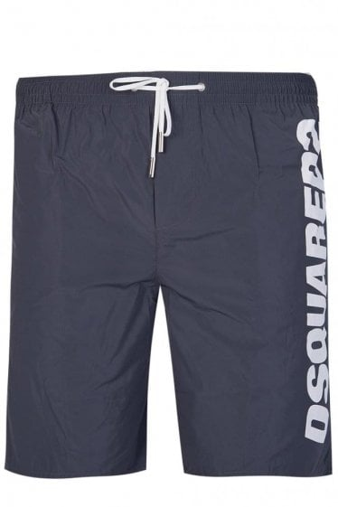 Dsquared Nylon Logo Swim Shorts Charcoal