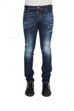 Dsquared Paint Splatter Slim Denim Jeans Blue