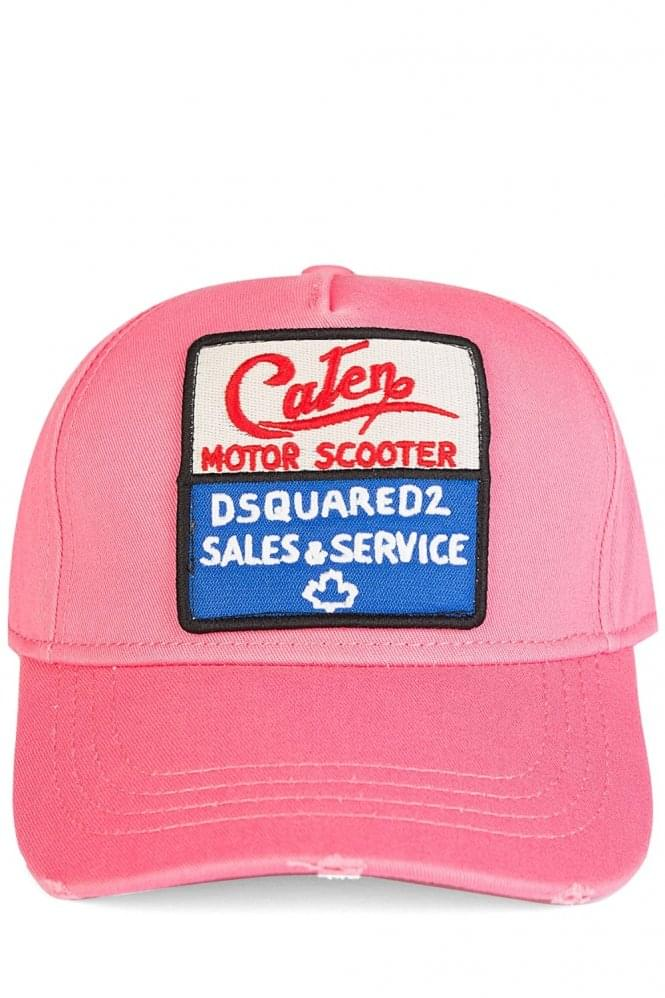 DSQUARED Patch Logo Pink Distressed Cap