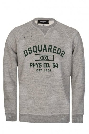 Dsquared Raglan Sleeves Distressed Sweatshirt Grey