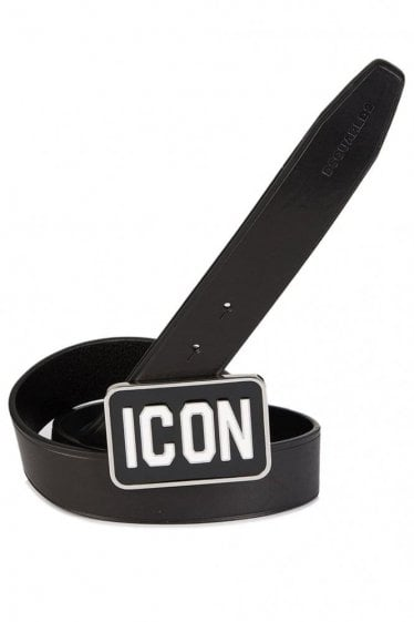 Dsquared Rectangular Buckle 'Icon' Belt Black