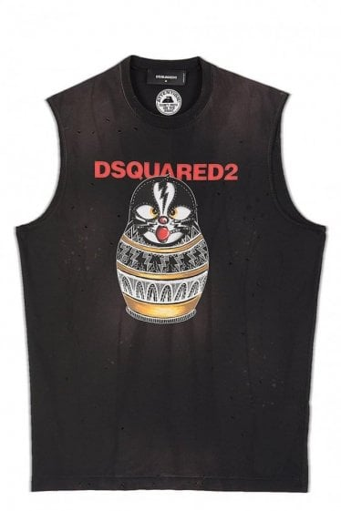 Dsquared Russian Doll Print Biker Vest Black
