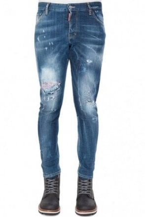Dsquared Sexy Twist Leather Patch Jeans Blue