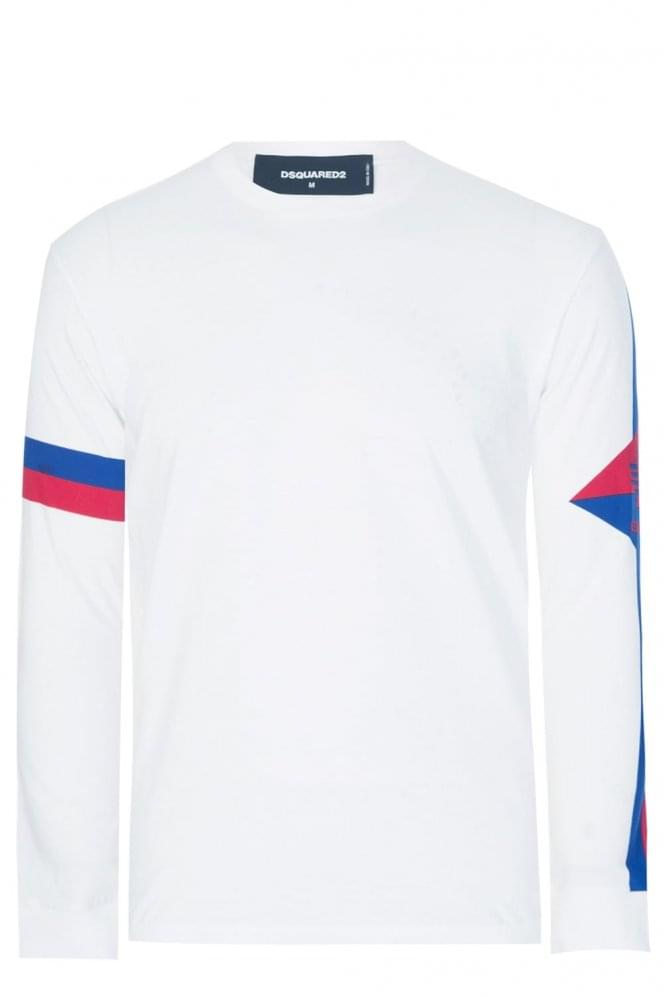 DSQUARED Sleeve Stripe Long Sleeve T-Shirt White