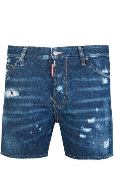 Dsquared Squared Crotch Denim Shorts Blue