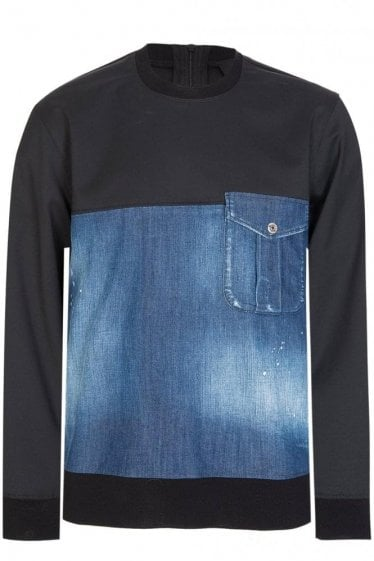 Dsquared Stretch Denim Sweatshirt