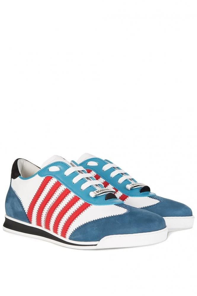 DSQUARED Striped Leather Nubuck Sneakers Blue