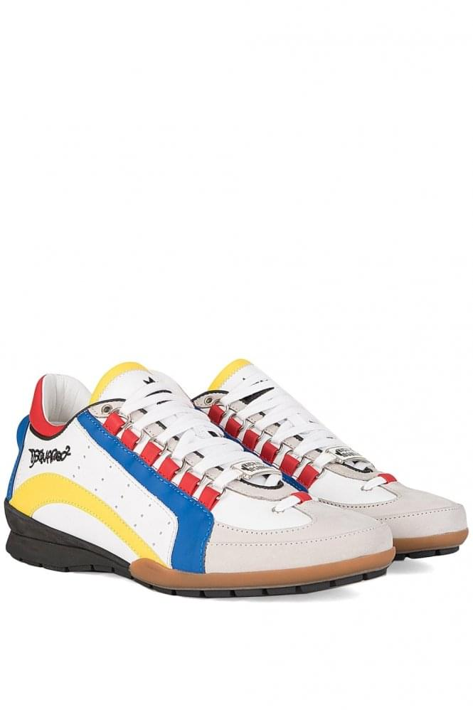 DSQUARED Striped Leather Sneakers Multi