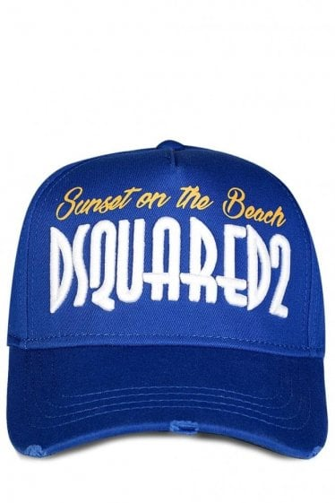 Dsquared 'Sunset on the Beach' Embroidered Baseball Cap Blue