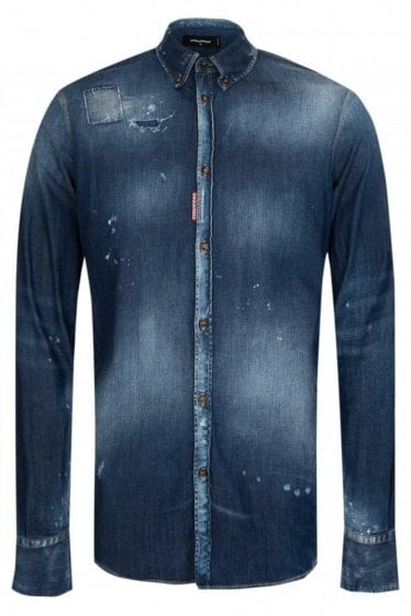 Dsquared Western Medium Wash Denim Shirt