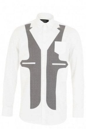 Dsquared White Waist Coat Print Shirt