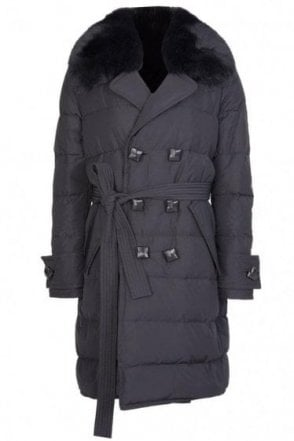 Dsquared Womens Fur Collar Trench Coat