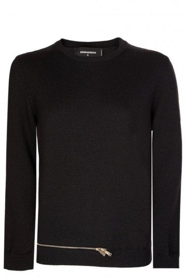 Dsquared Womens Zip Hem Knitted Jumper