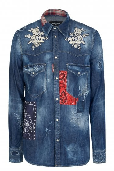 Dsquared2 Patchwork Western Denim Shirt