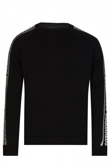 Dsquared2 Tape Logo Sleeves Knitted Crew Neck Jumper