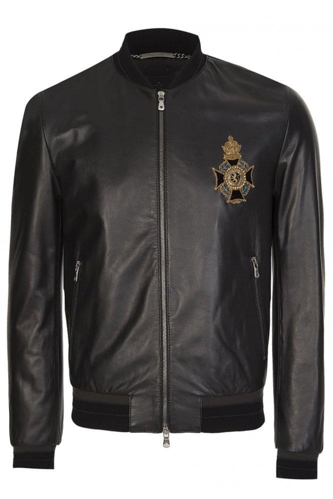 Embellished-Chest-Logo-Black-Jacket