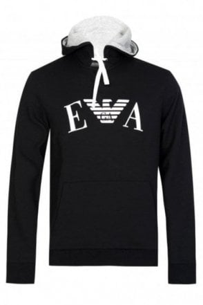 Emporio Armani Chest Logo Hooded Sweatshirt Black