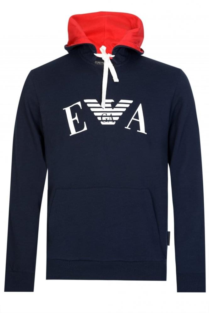 ARMANI Emporio Armani Chest Logo Hooded Sweatshirt Navy