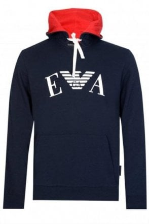 Emporio Armani Chest Logo Hooded Sweatshirt Navy