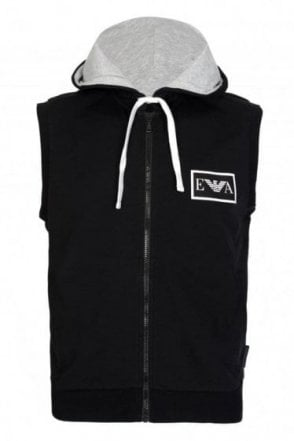 Emporio Armani Combination Hooded Gilet Black
