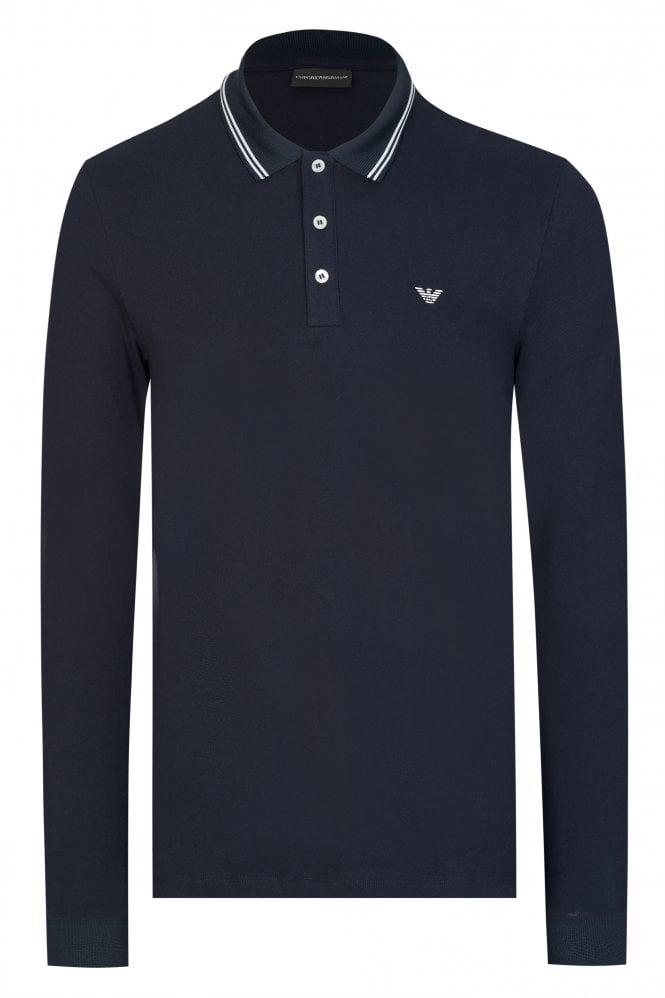Emporio Armani Contrast Trim Long Sleeve Polo