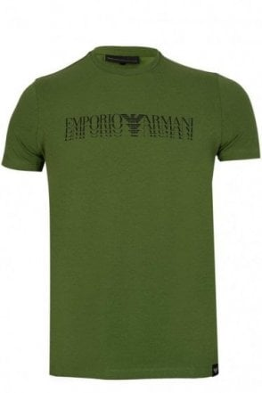 Emporio Armani Repeat Chest Logo Tshirt Green