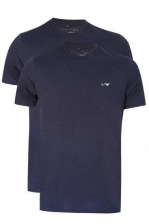 Emporio Armani White Crewneck Two Pack Navy