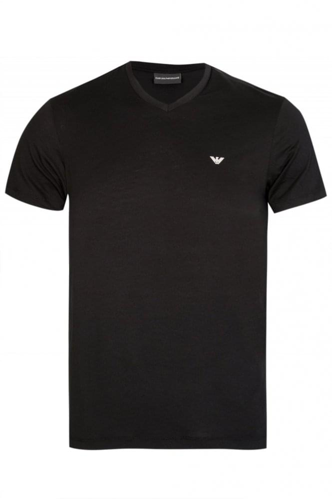 ARMANI Emporio Armani White V-Neck Two Pack Black
