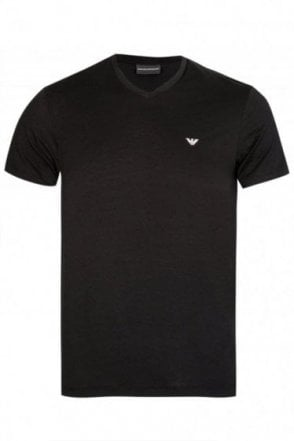 Emporio Armani White V-Neck Two Pack Black