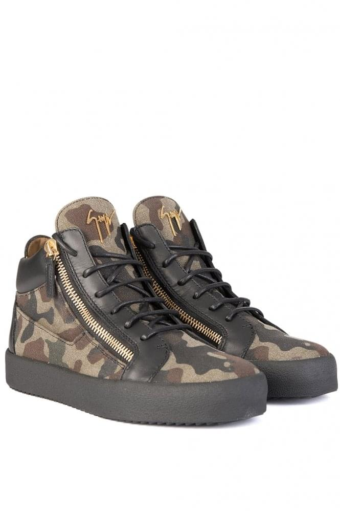GIUSEPPE ZANOTTI Camouflage Canvas Mid Sneakers