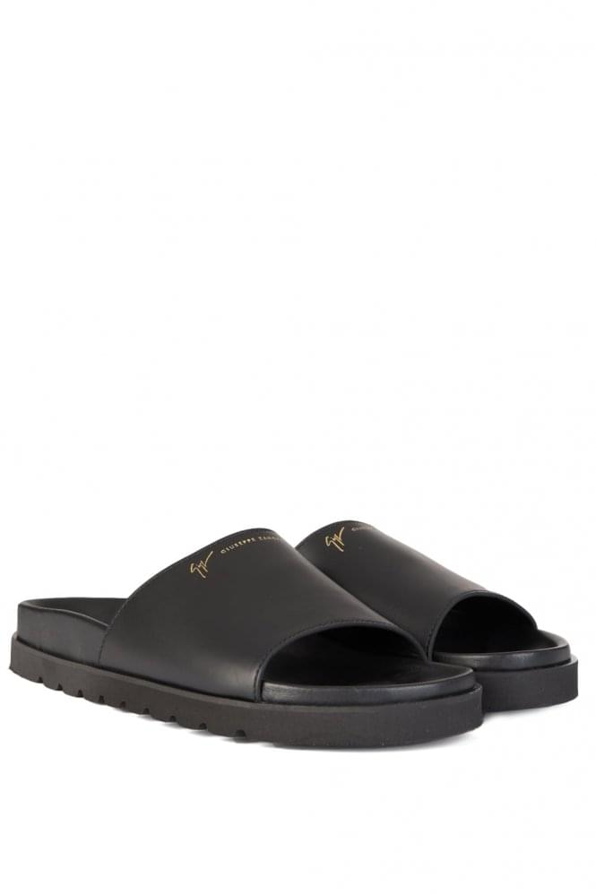 GIUSEPPE ZANOTTI Leather Sandals Black