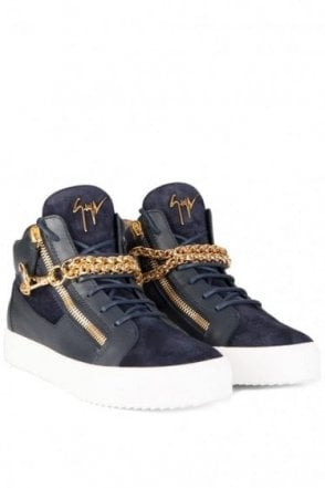 Giuseppe Zanotti Mid Gold Wrap Chain Sneakers Navy