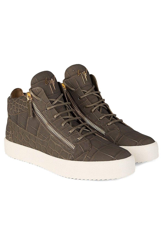 d5eb6d04ac8 Giuseppe Zanotti Mid Matt Croc Sneakers Khaki