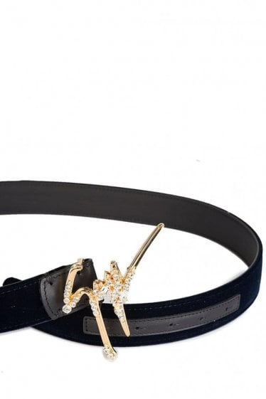 Giuseppe Zanotti Signature Diamante Buckle Velvet Belt Navy