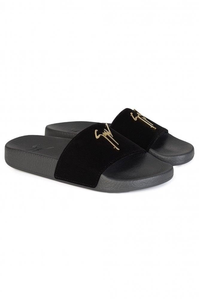 Clothing & Accessories For Boys Giuseppe Zanotti Womens Signature Velvet Logo Sliders Black
