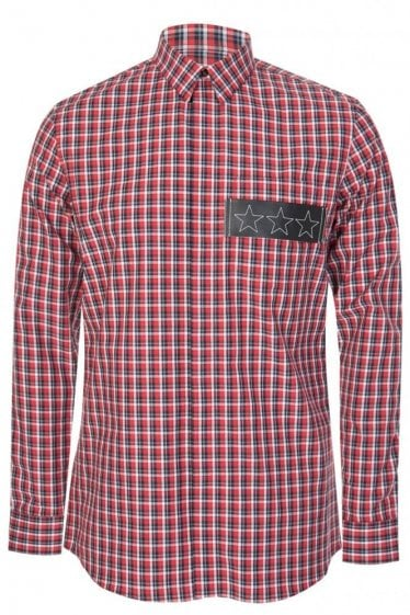 Givenchy Checkered Shirt Red