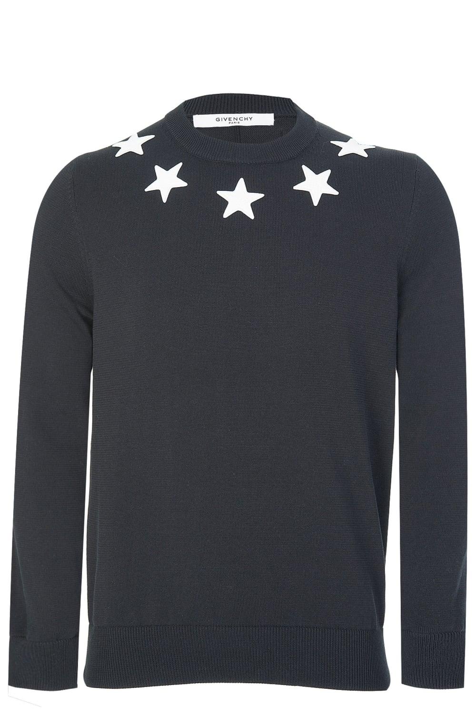 98fde91997581 Givenchy Contrast Neck Stars Jumper Black