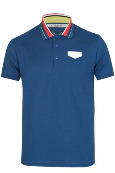 Givenchy Contrasting Collar Polo Blue