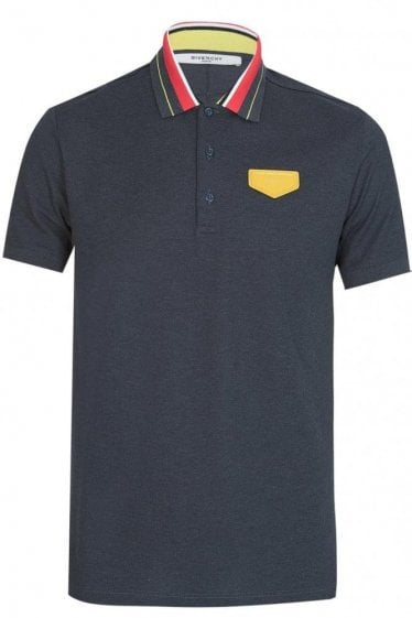 Givenchy Contrasting Collar Polo Grey
