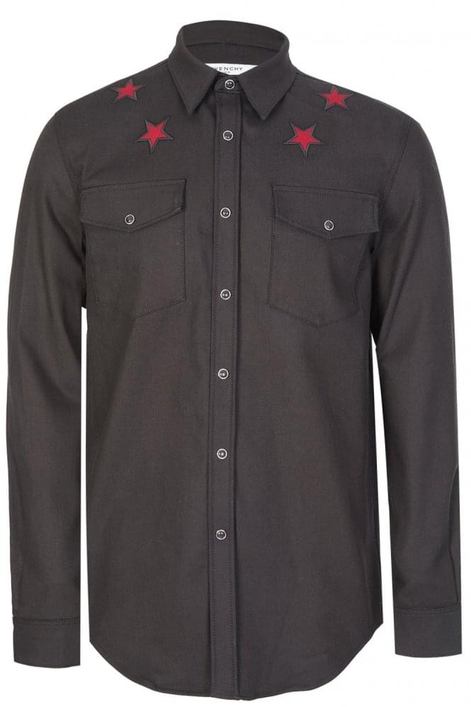 GIVENCHY Contrasting Stars Combination Shirt Black
