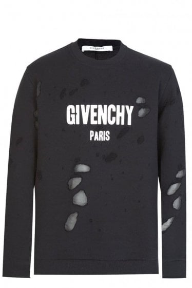 Givenchy Cuban Destroyed Cotton Sweatshirt