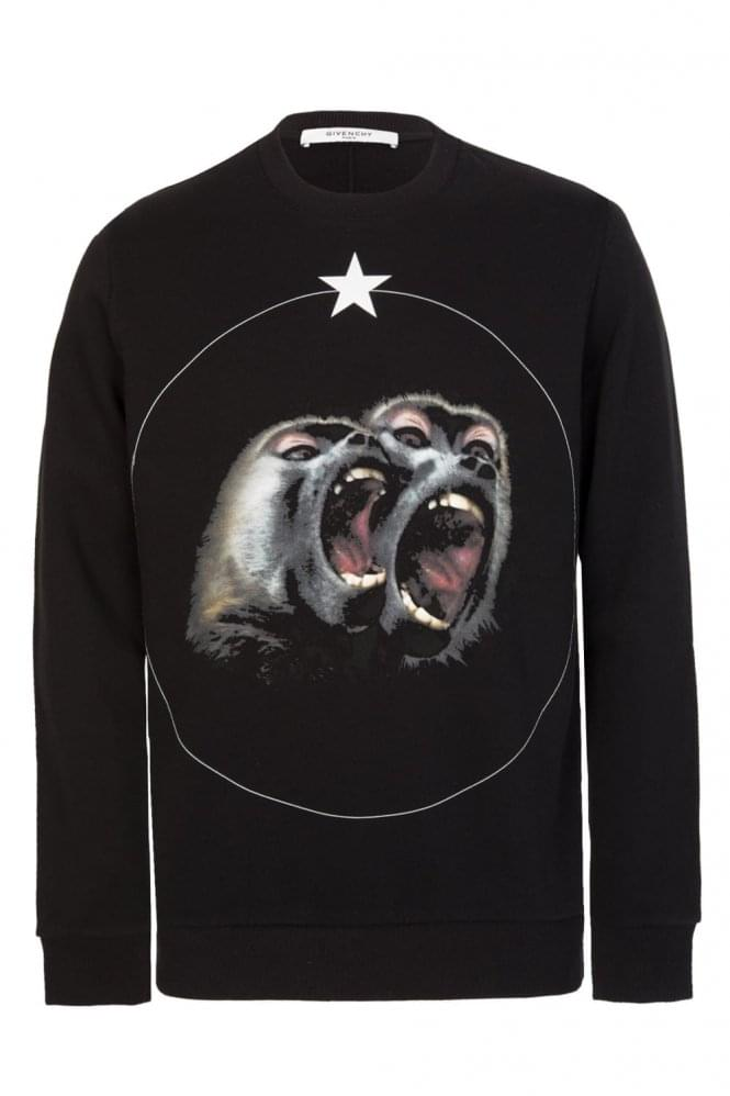 GIVENCHY Cuban Fit Screaming Monkeys Sweatshirt Black