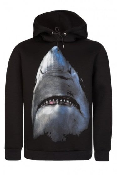 Givenchy Cuban Fit Shark Print Hoodie Black