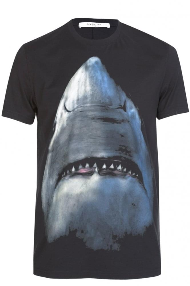 GIVENCHY Cuban Fit Shark Print T-Shirt Black