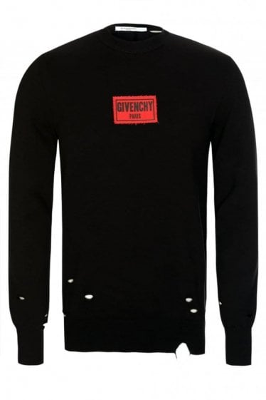 Givenchy Distressed Patch Logo Sweatshirt Black