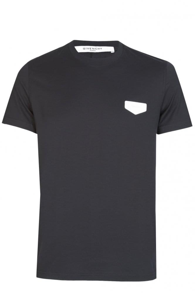 GIVENCHY Leather Patch Tshirt Black