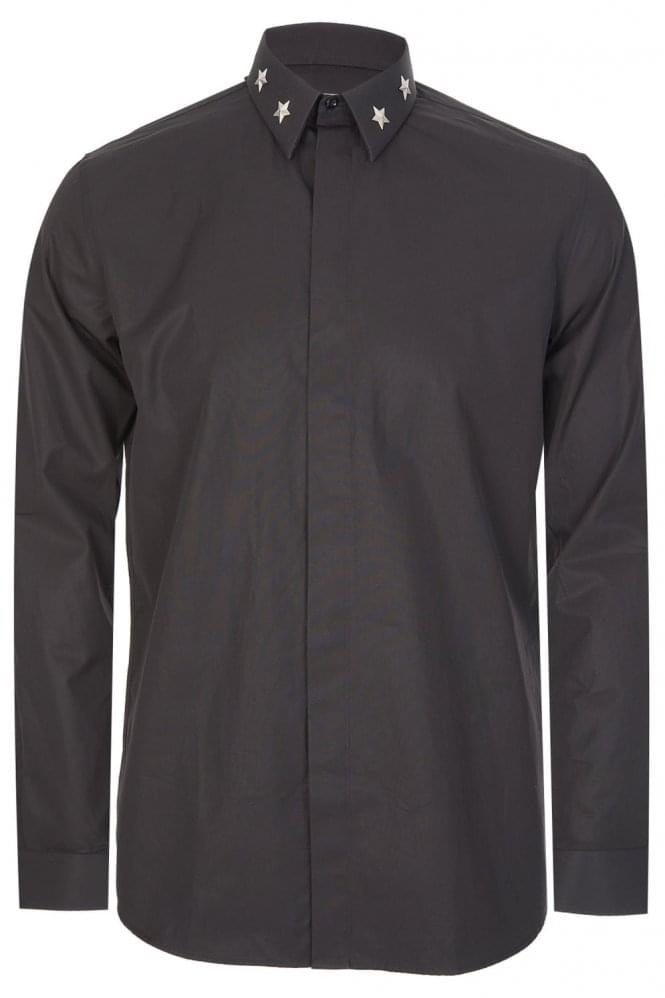 GIVENCHY Metal Star Collar Shirt Black