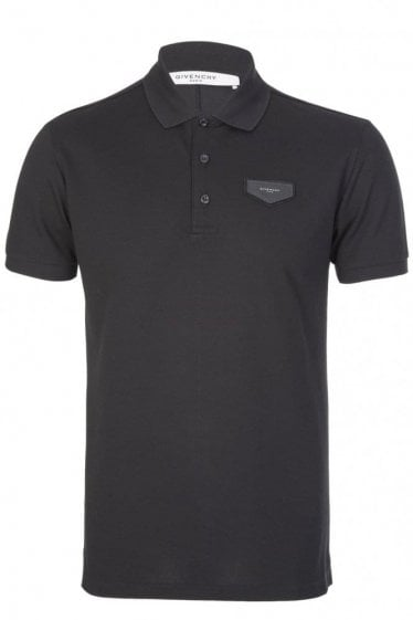 Givenchy Paris Leather Patch Polo Black