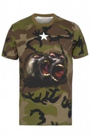 Givenchy Screaming Monkeys Tshirt Khaki